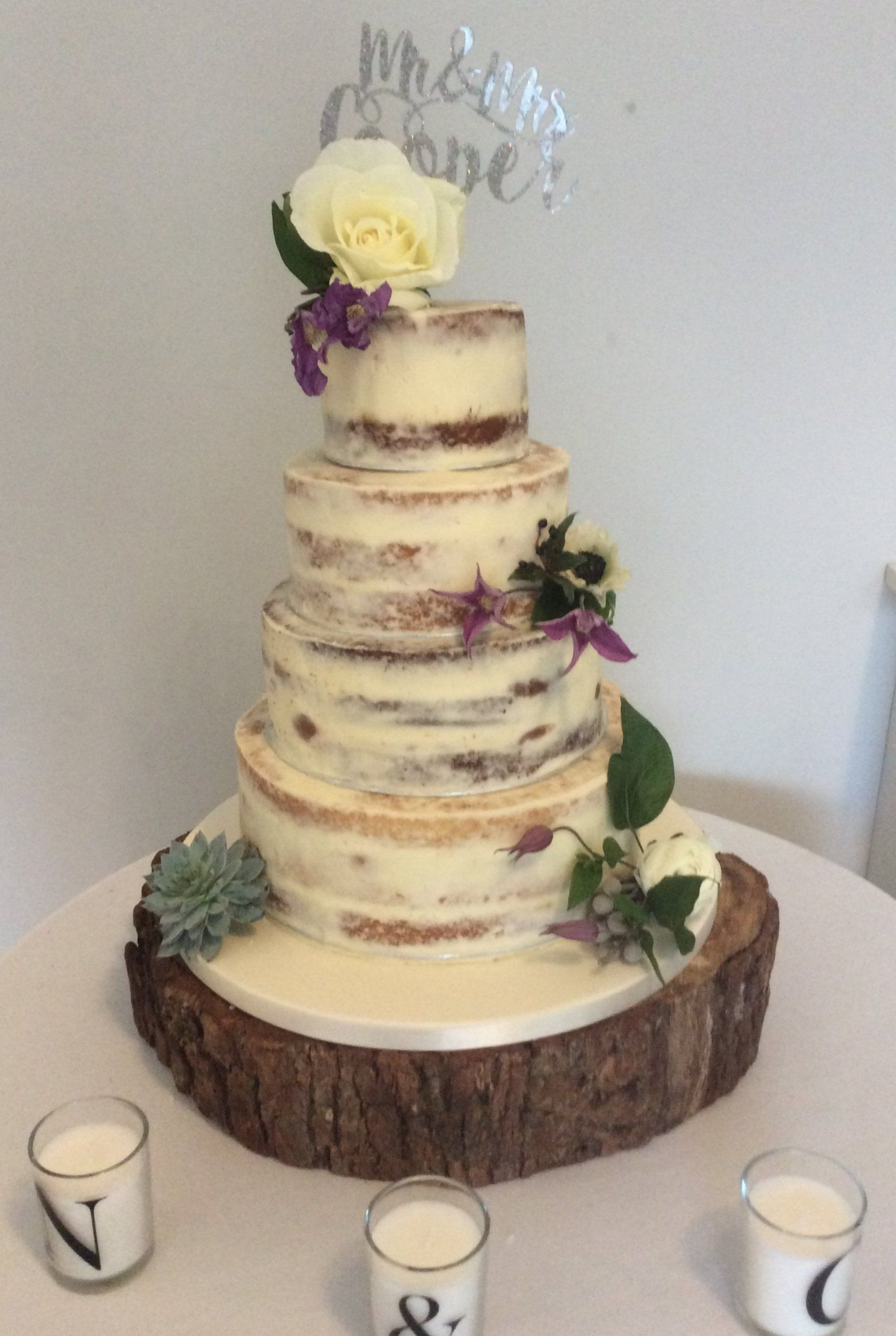 4 Tier Semi Naked Wedding Cake With Simple Rustic Style