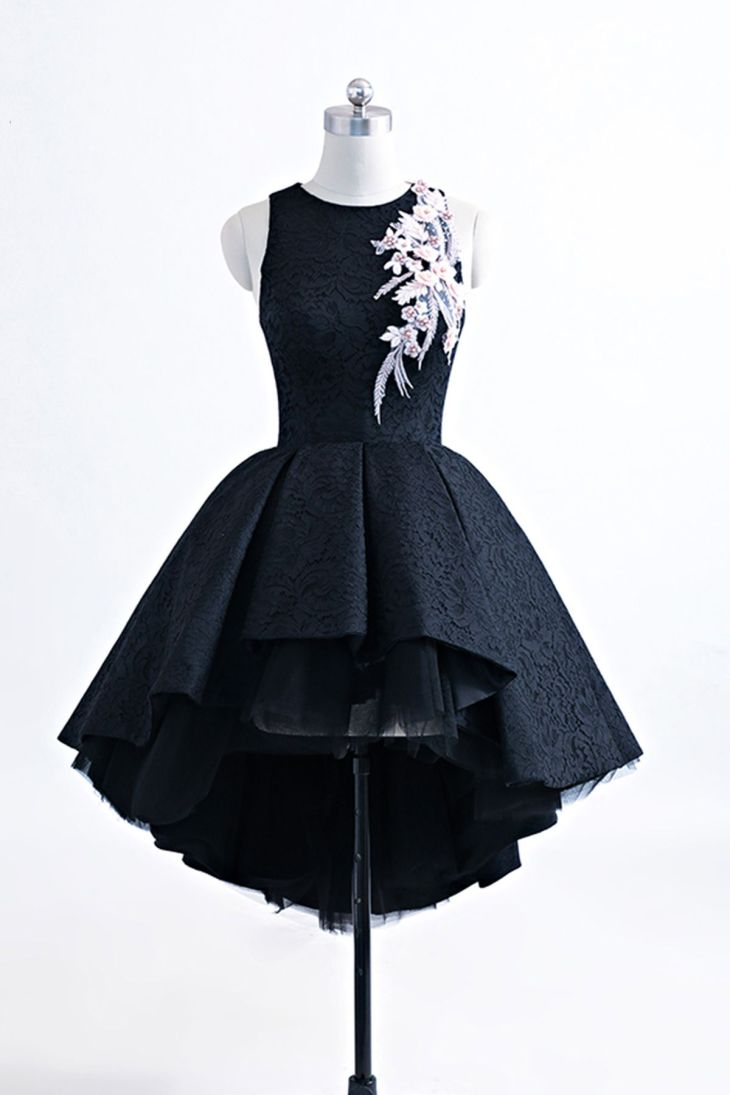 Black heavy satin high low homecoming dress short black halter prom