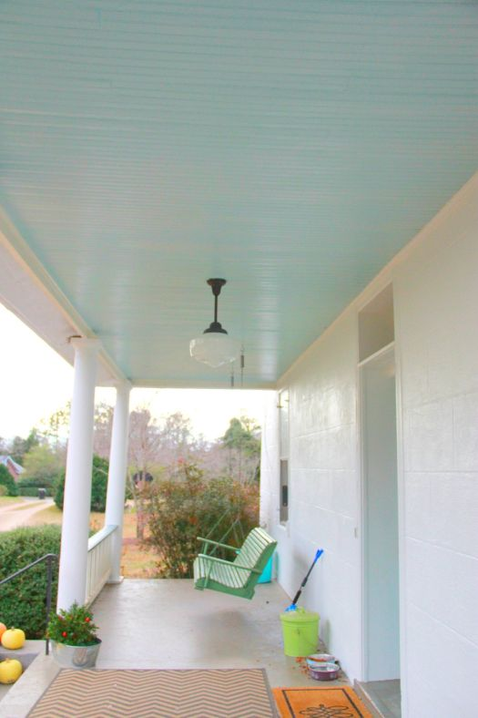Benjamin Moore Birds Egg Porch Ceiling And I Like The Fixture