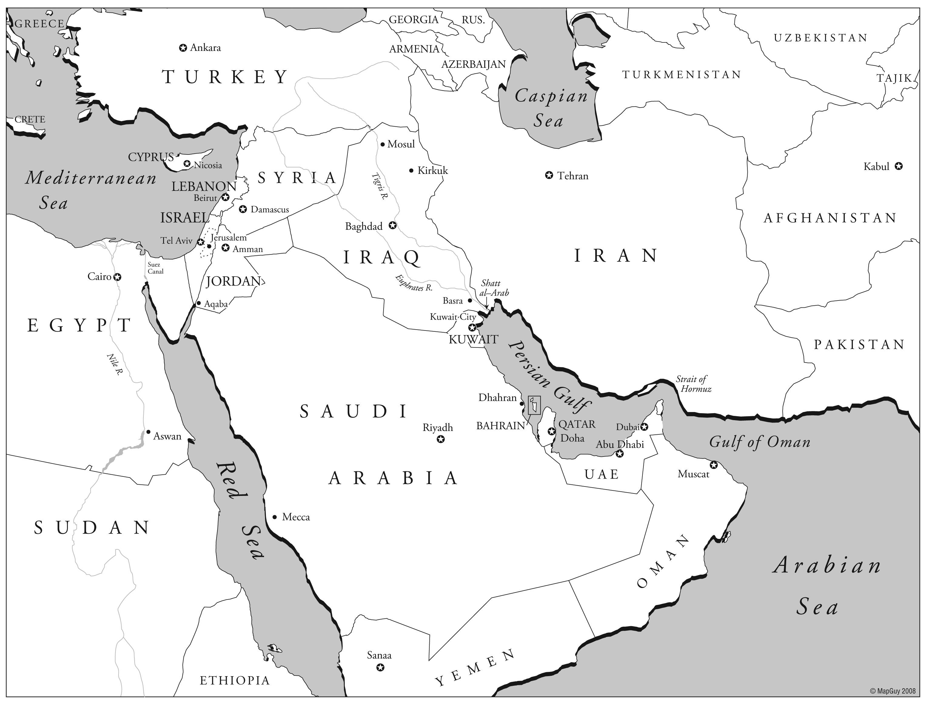 Middle East Geography Maps Worksheet
