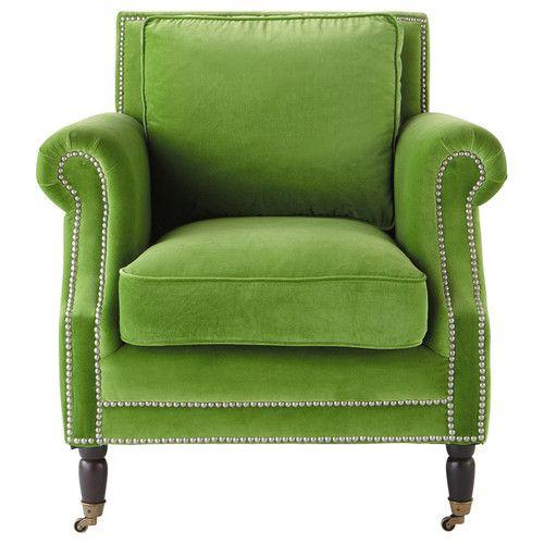 velvet armchair in green dandy maison du monde