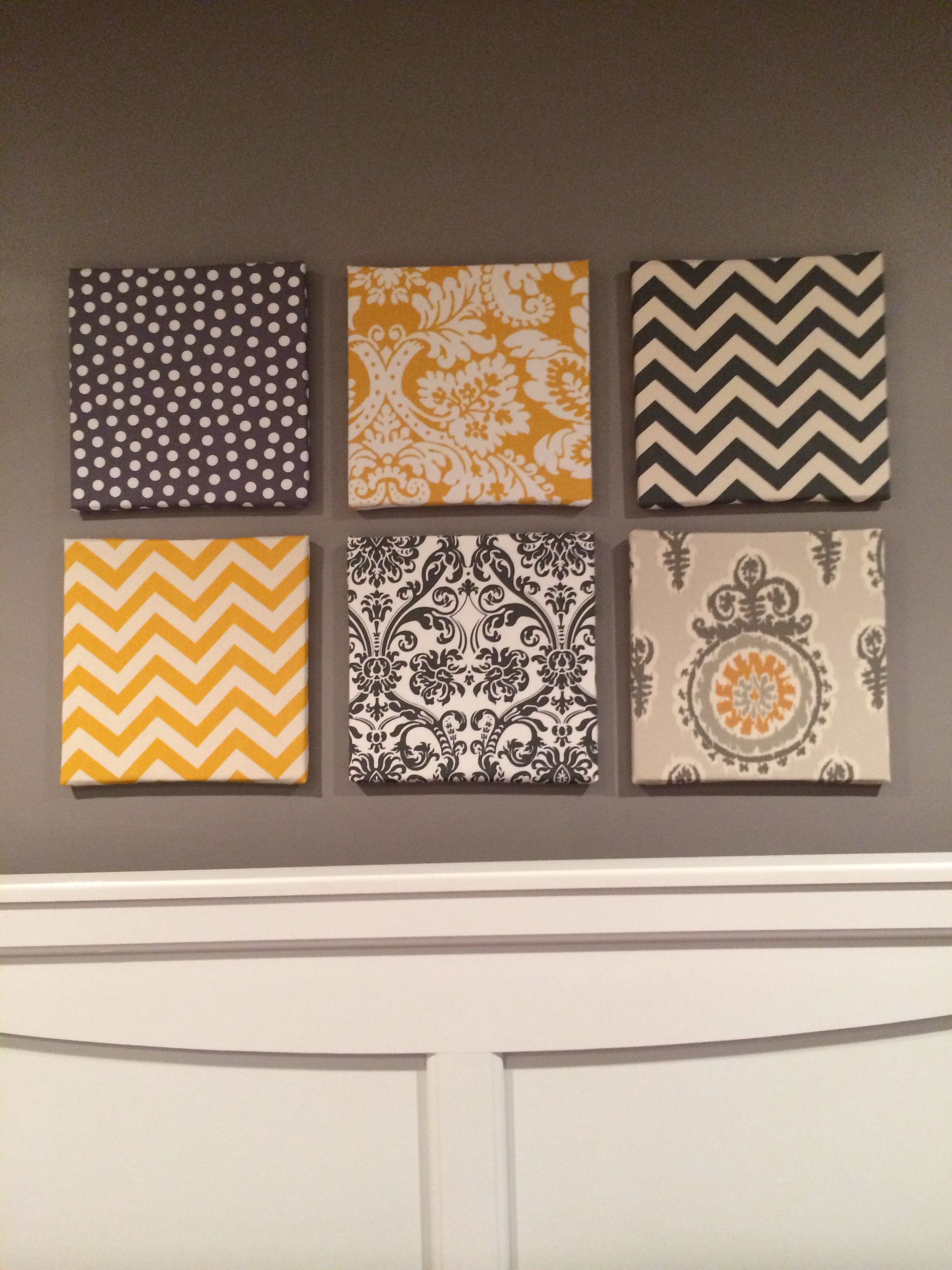 my fabric over canvas wall art for my gray and yellow on canvas wall art id=39492