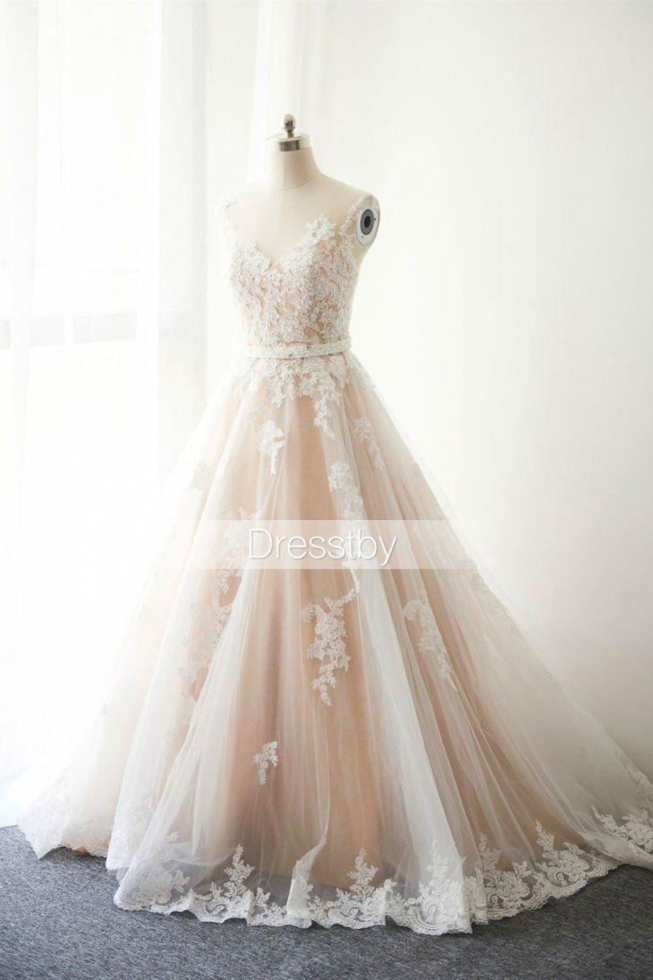 White round neck lace tulle long wedding dress lace bridal dress