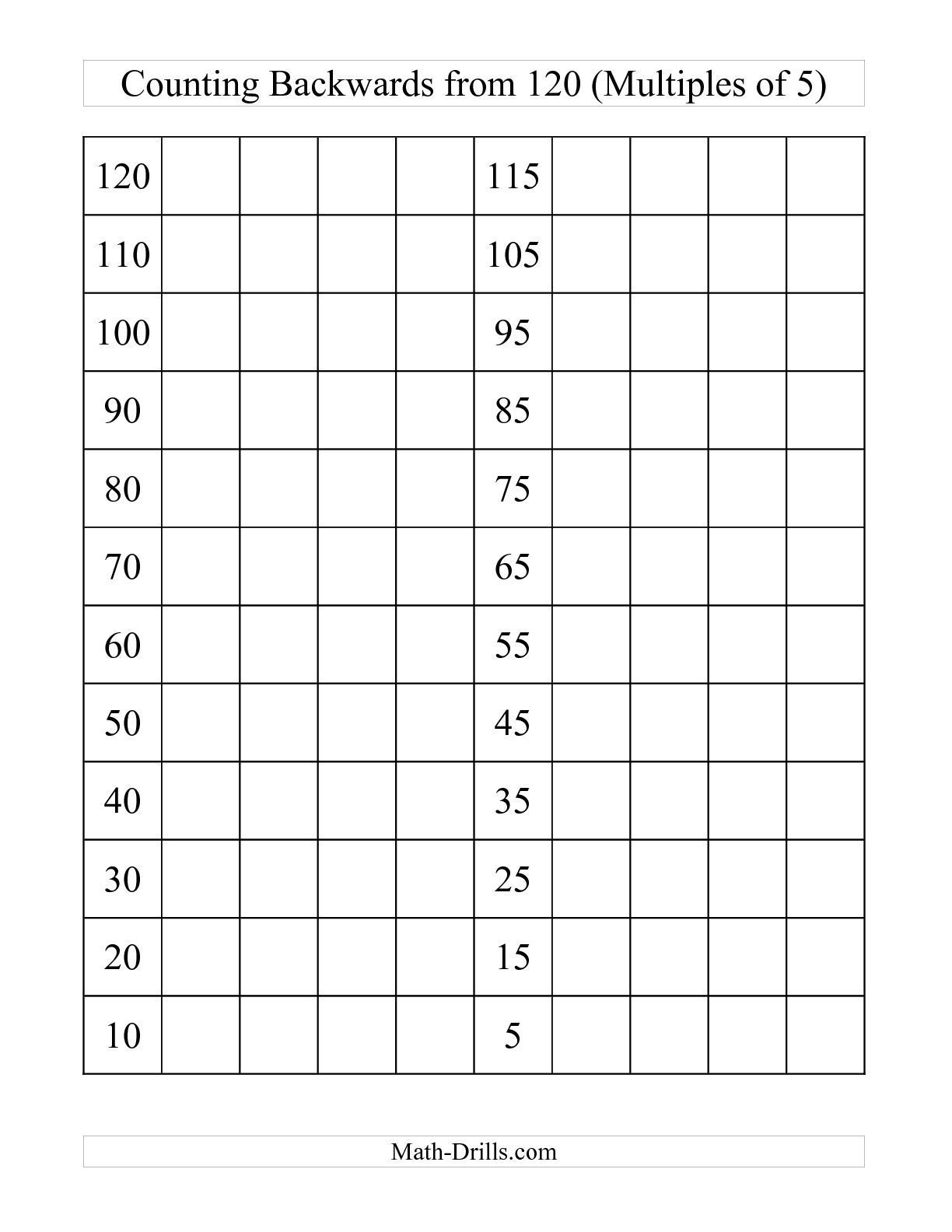 The Backwards 120 Chart With Multiples Of 5 C Math
