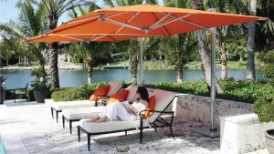 Outdoor Garden, Best Orange Patio Cantilever Umbrella