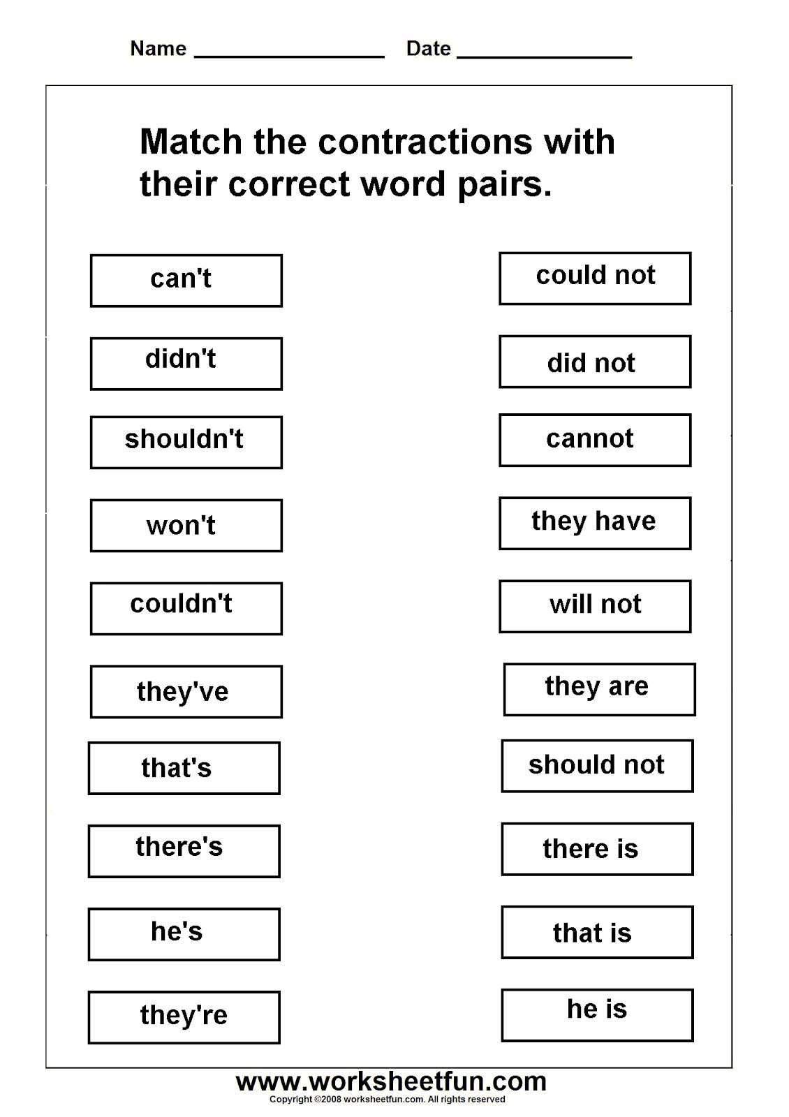 Contractions Worksheets Can T Didn T Shouldn T Won T Couldn T They Ve