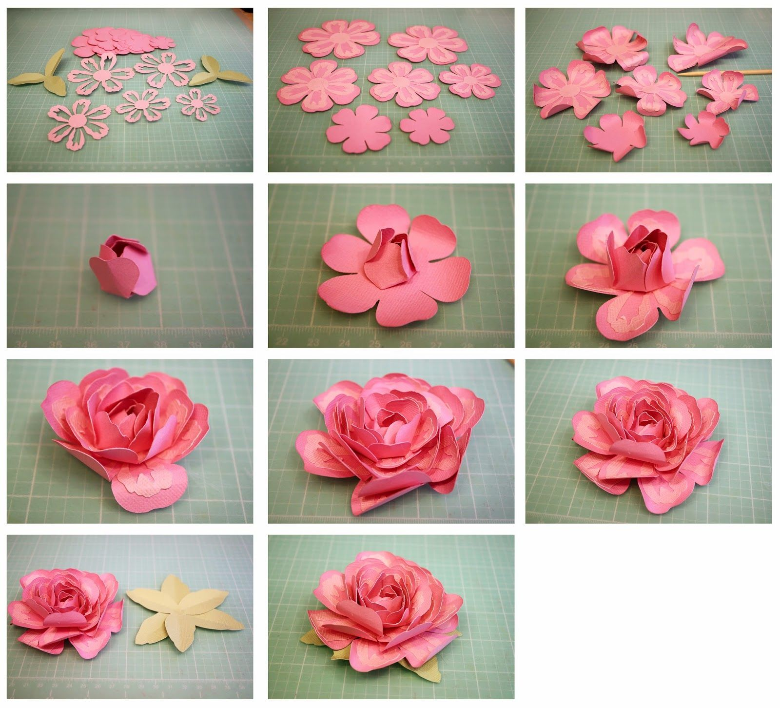 3d Layered Rose And Penstemon Paper Flowers