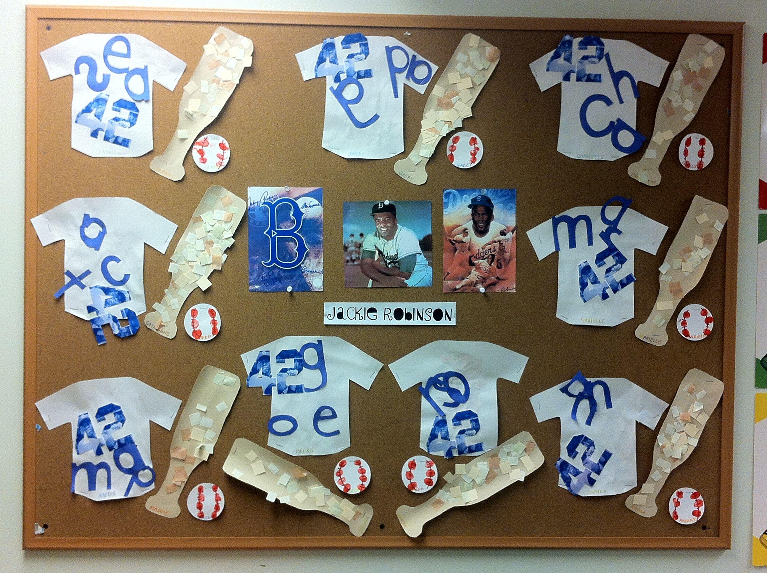 Black History Toddler Craft Jackie Robinson Baseball Jerseys Mosaic Baseball Bats And