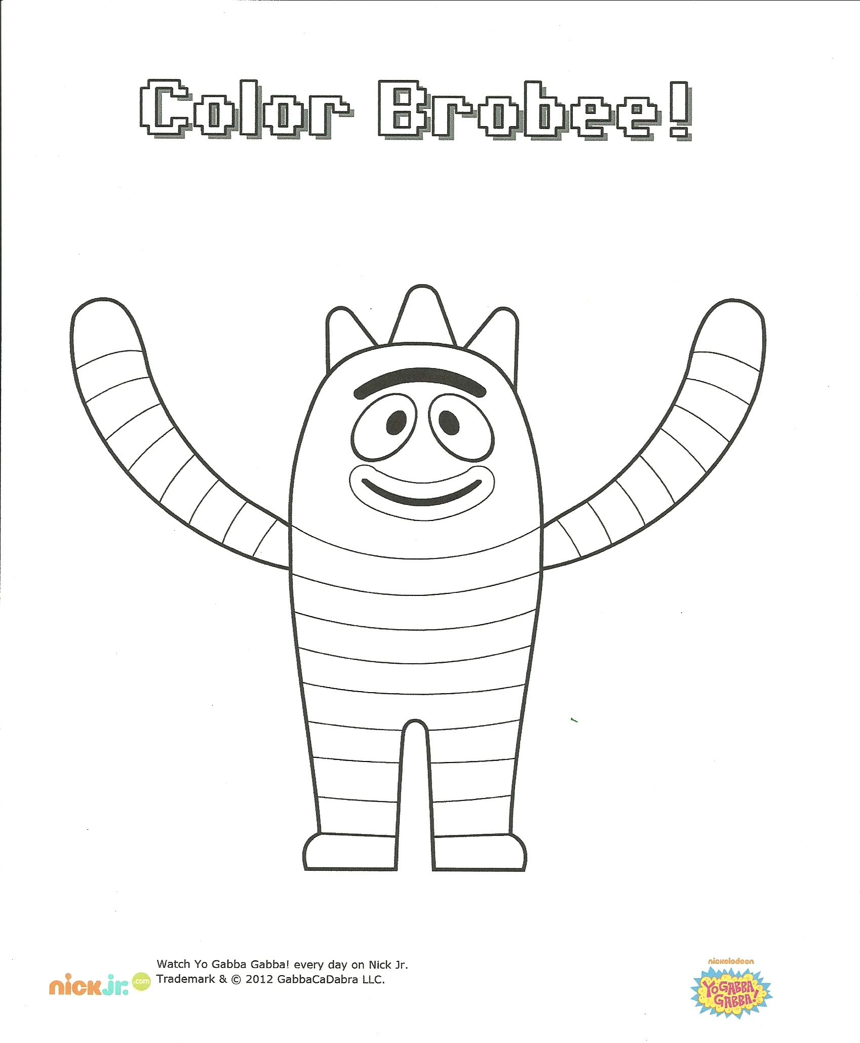 Yo Gabba Brobee Coloring Page