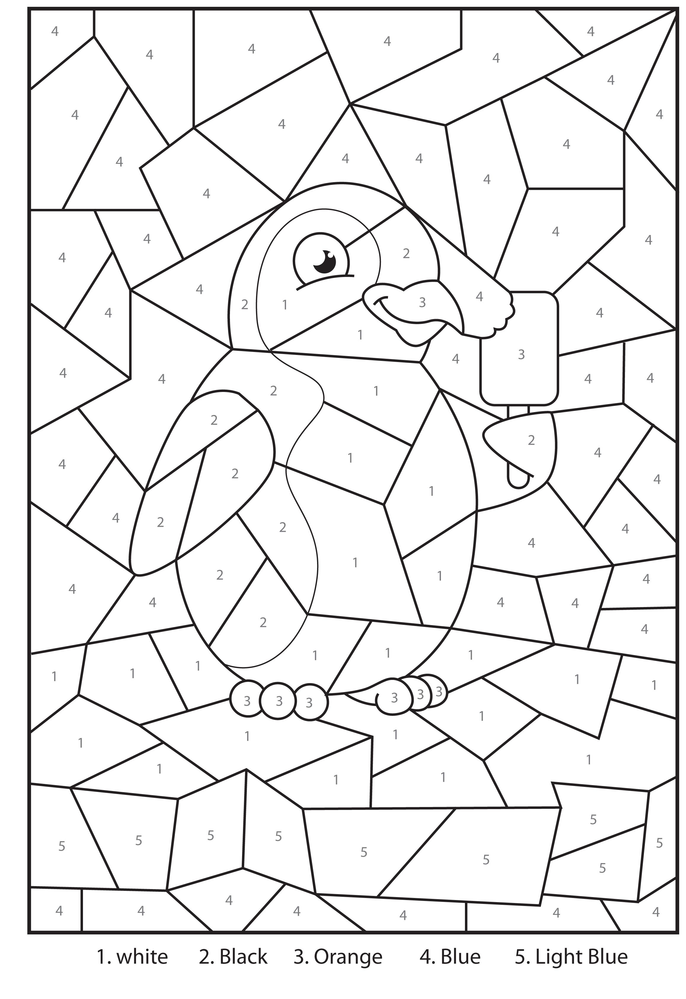 Free Printable Penguin At The Zoo Colour By Numbers