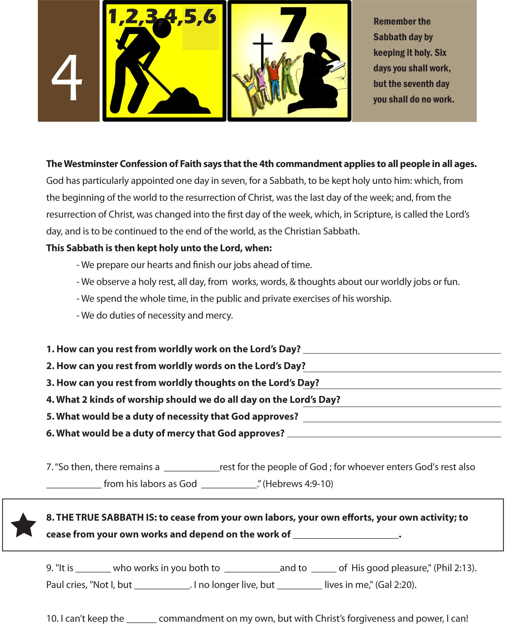 Worksheet To Teach The Fourth Of The 10 Commandments Work For 6 Days But Rest On The 7th Day