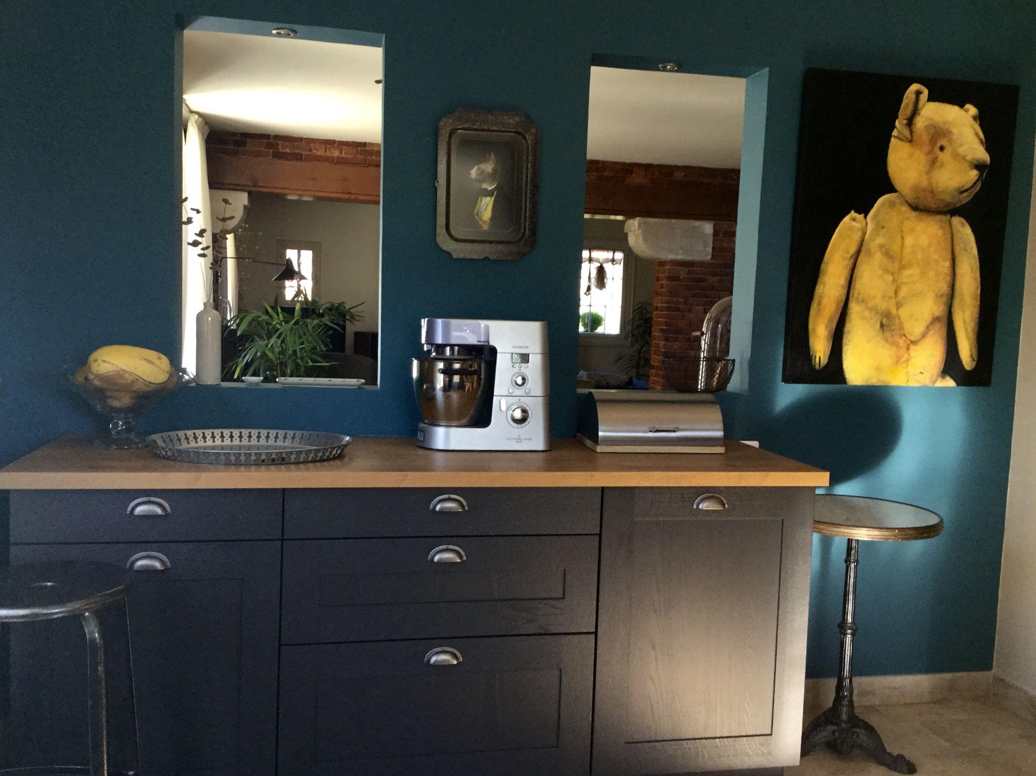 Cuisine Grise Mur Bleu Canard Goa Flamant Couleur Salon
