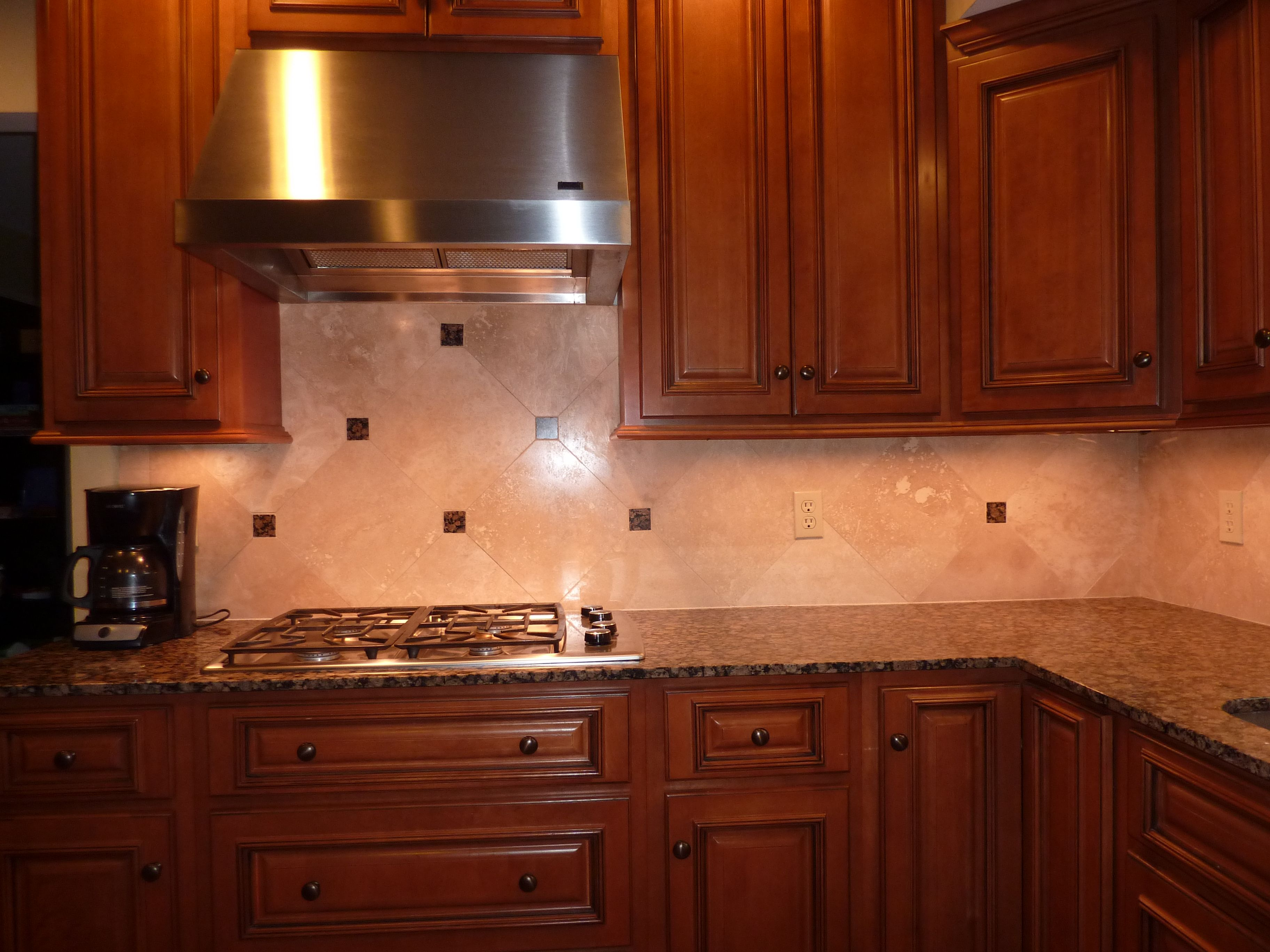 Baltic Brown granite with dark mahogany cabinets and ... on Backsplash For Black Granite Countertops And Brown Cabinets  id=71572
