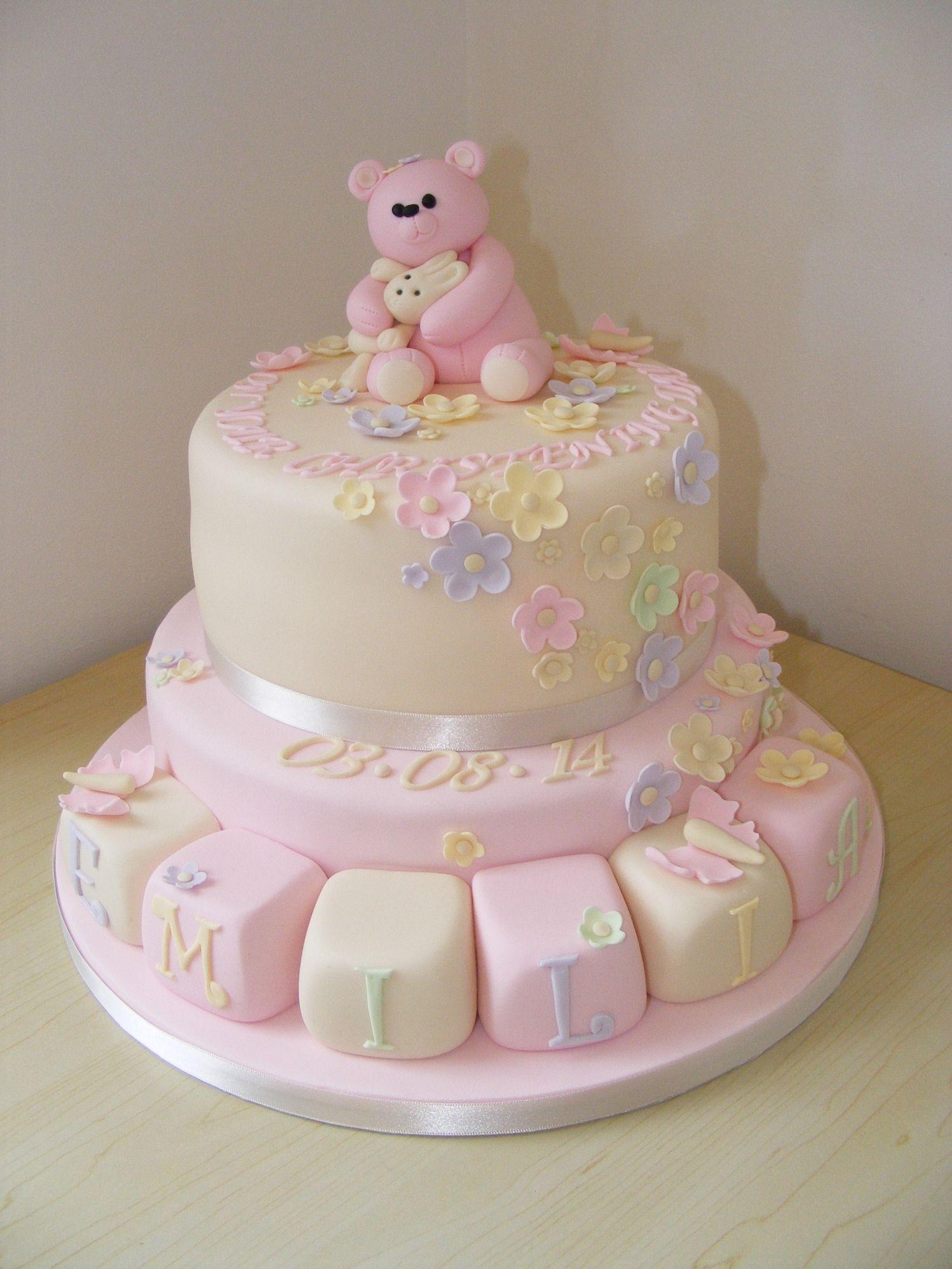 Girls 2 Tier Christening Cake