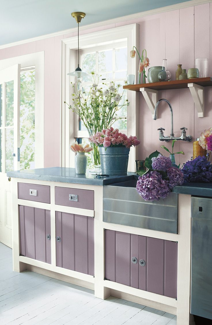 a farmhouse kitchen with ralph lauren paint colors inspired by fresh cut flowers duchess lilac on farmhouse kitchen wall colors id=87609