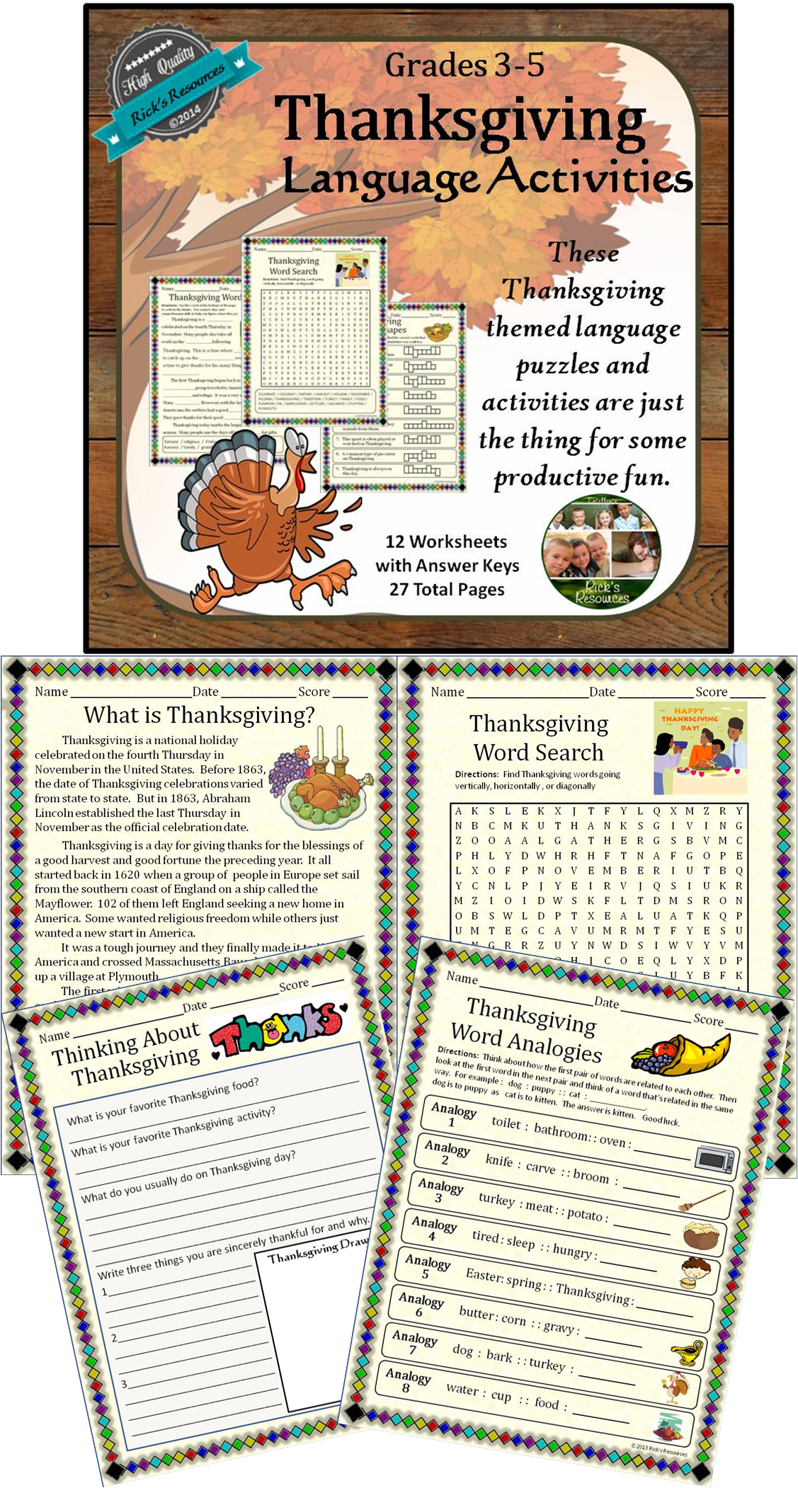 Thanksgiving Language Activities