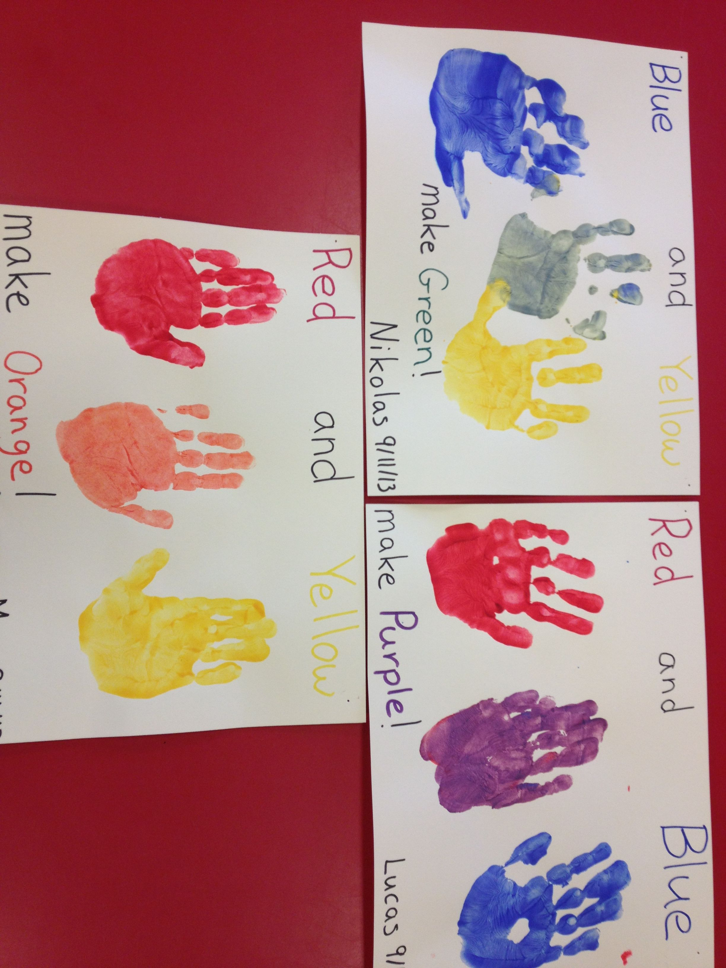 Preschool Color Mixing Paint Each Hand A Different Primary Color Then Have The Child Rub Their