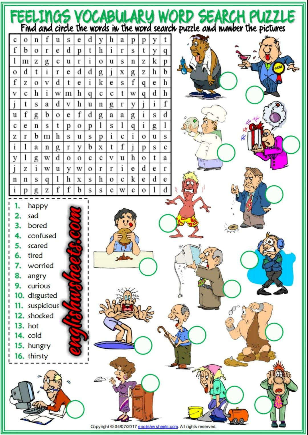 Feelings Emotions Esl Printable Word Search Puzzle Worksheets For Kids