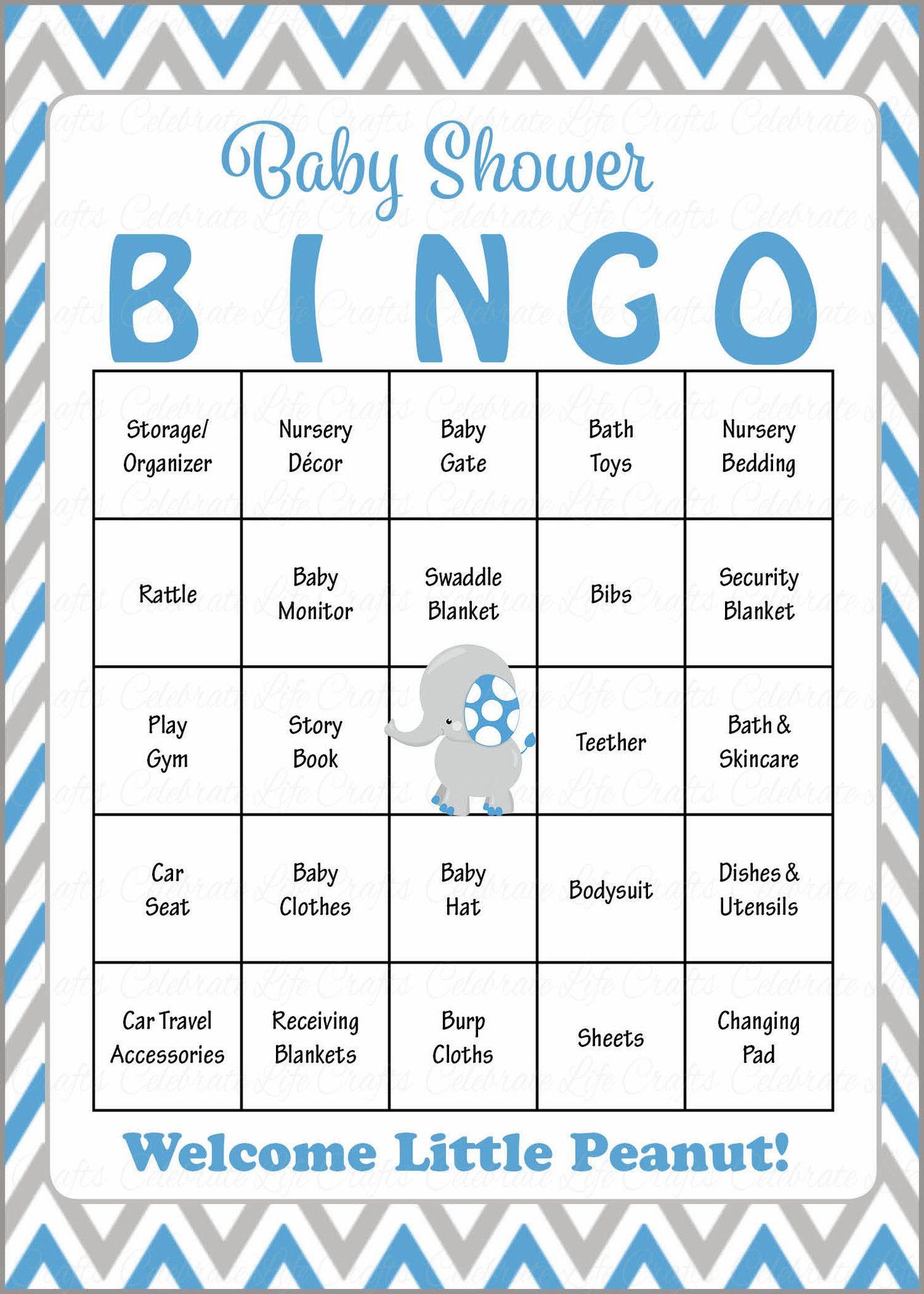 Elephant Baby Bingo Cards