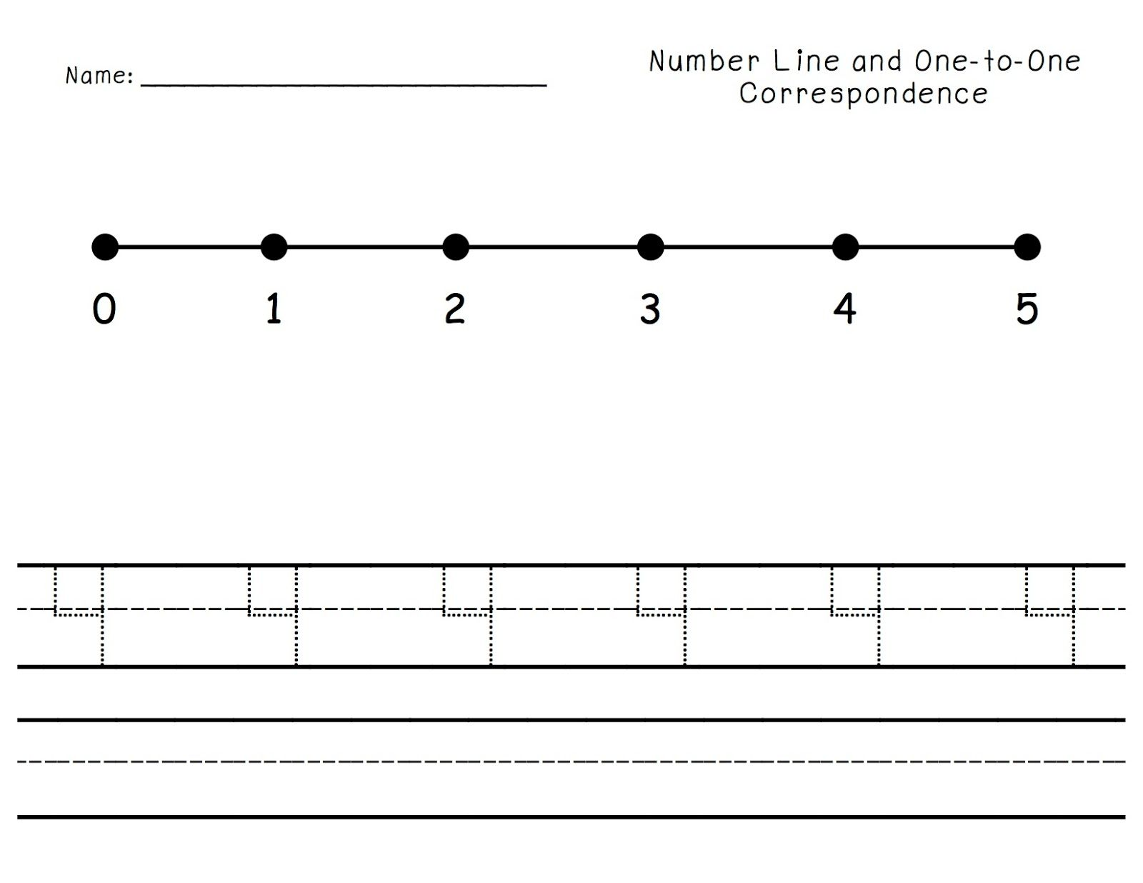 Number Line Counting One To One Correspondence Cut Glue Trace And Write Numbers 1 10 And A