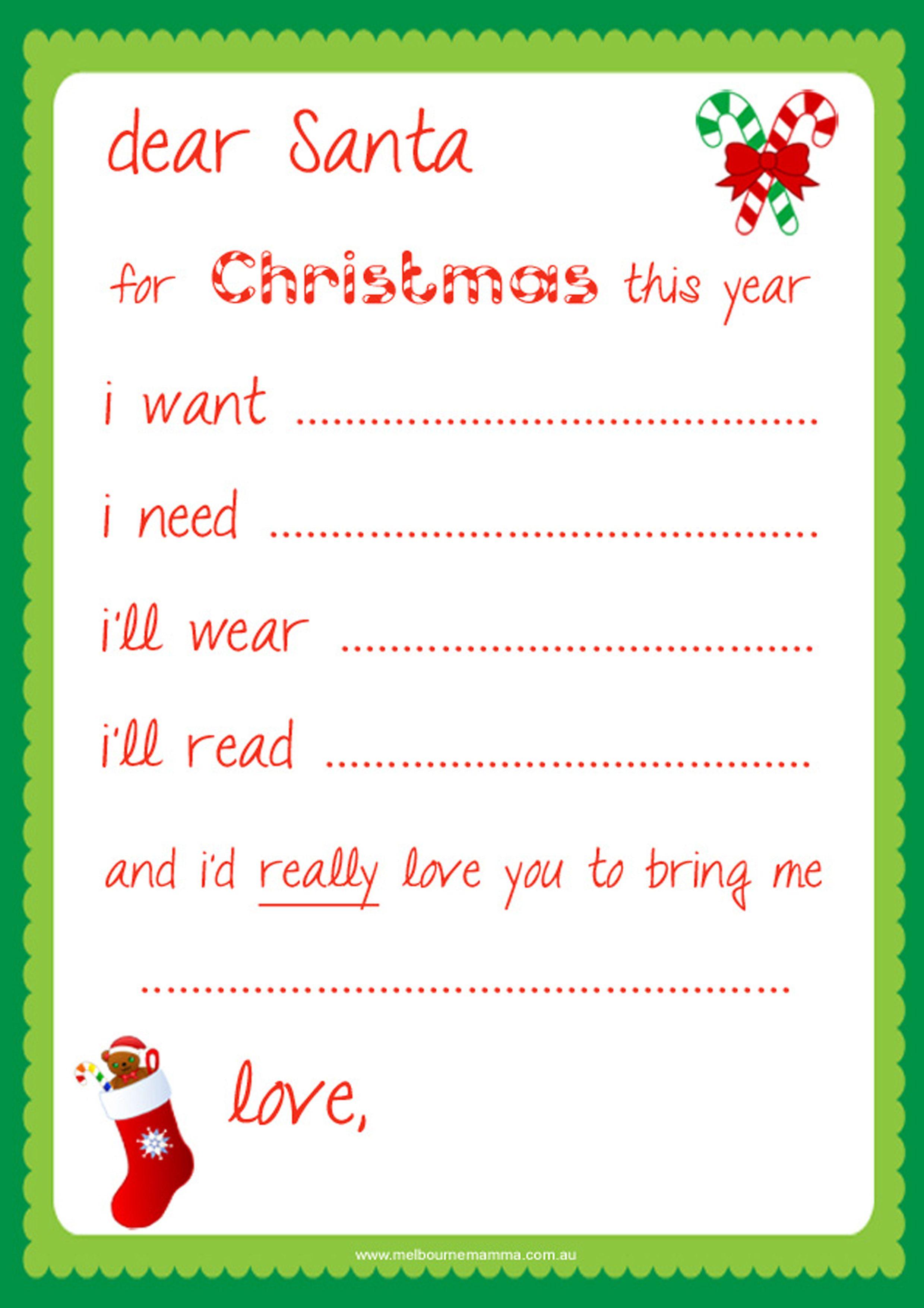 Free Dear Santa Printable