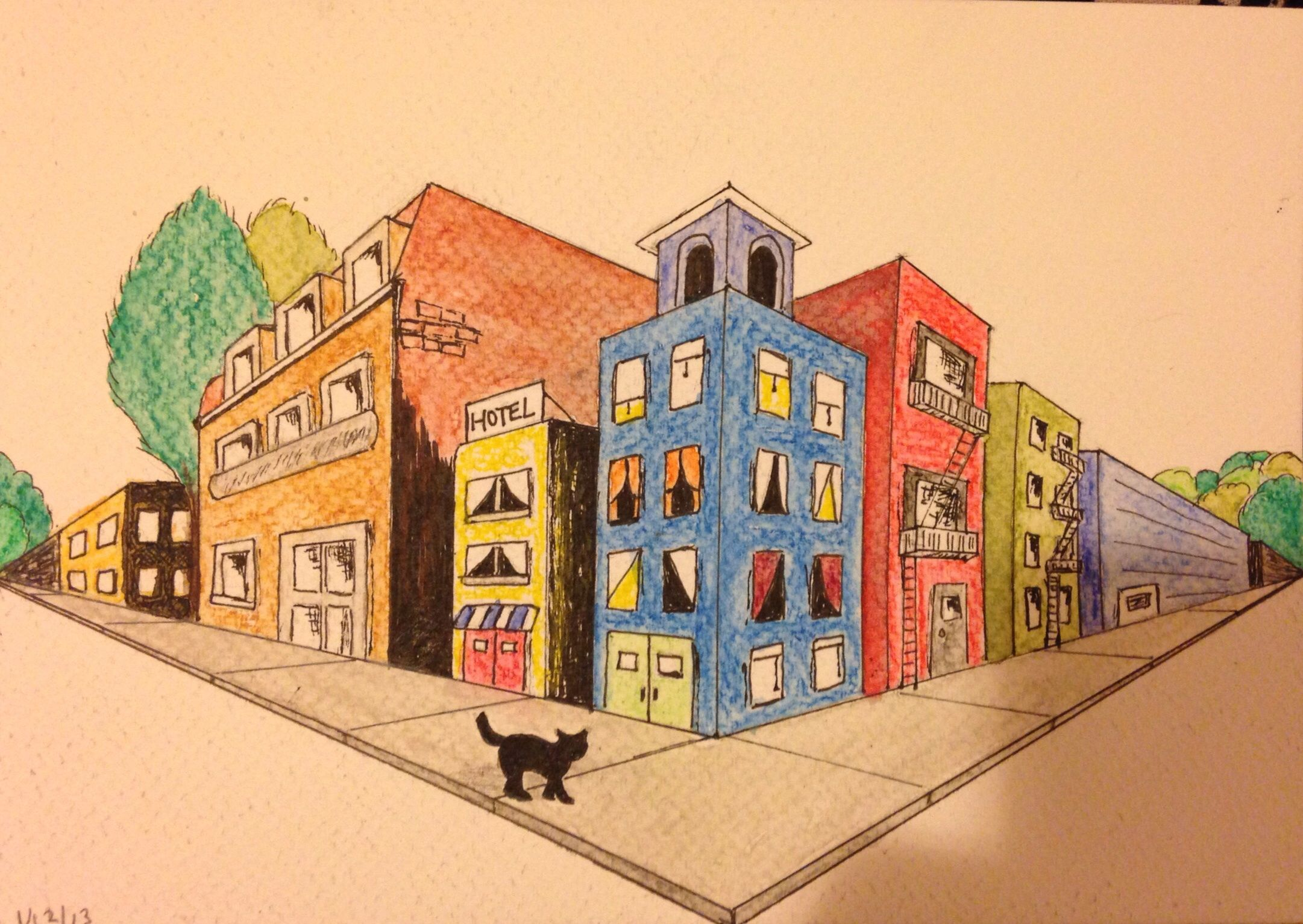 Cat Surveying A City My Attempt At Two Point Perspective