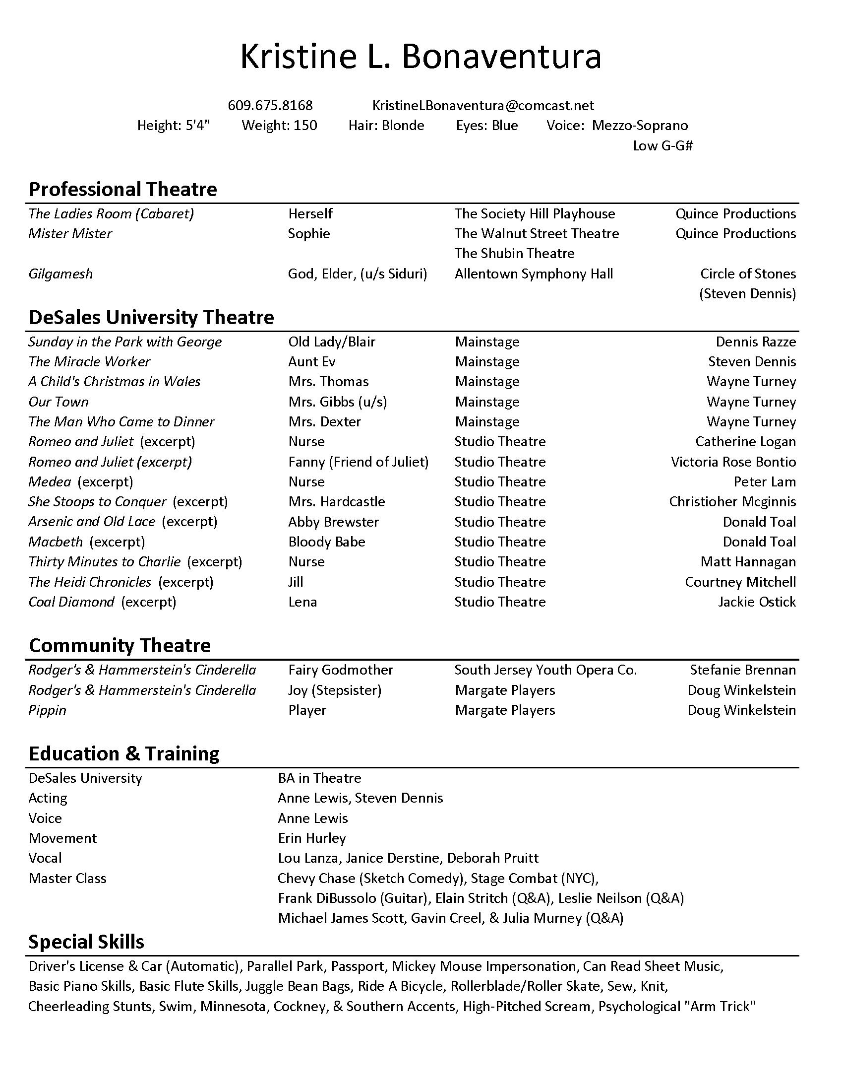 Actor Resume Example