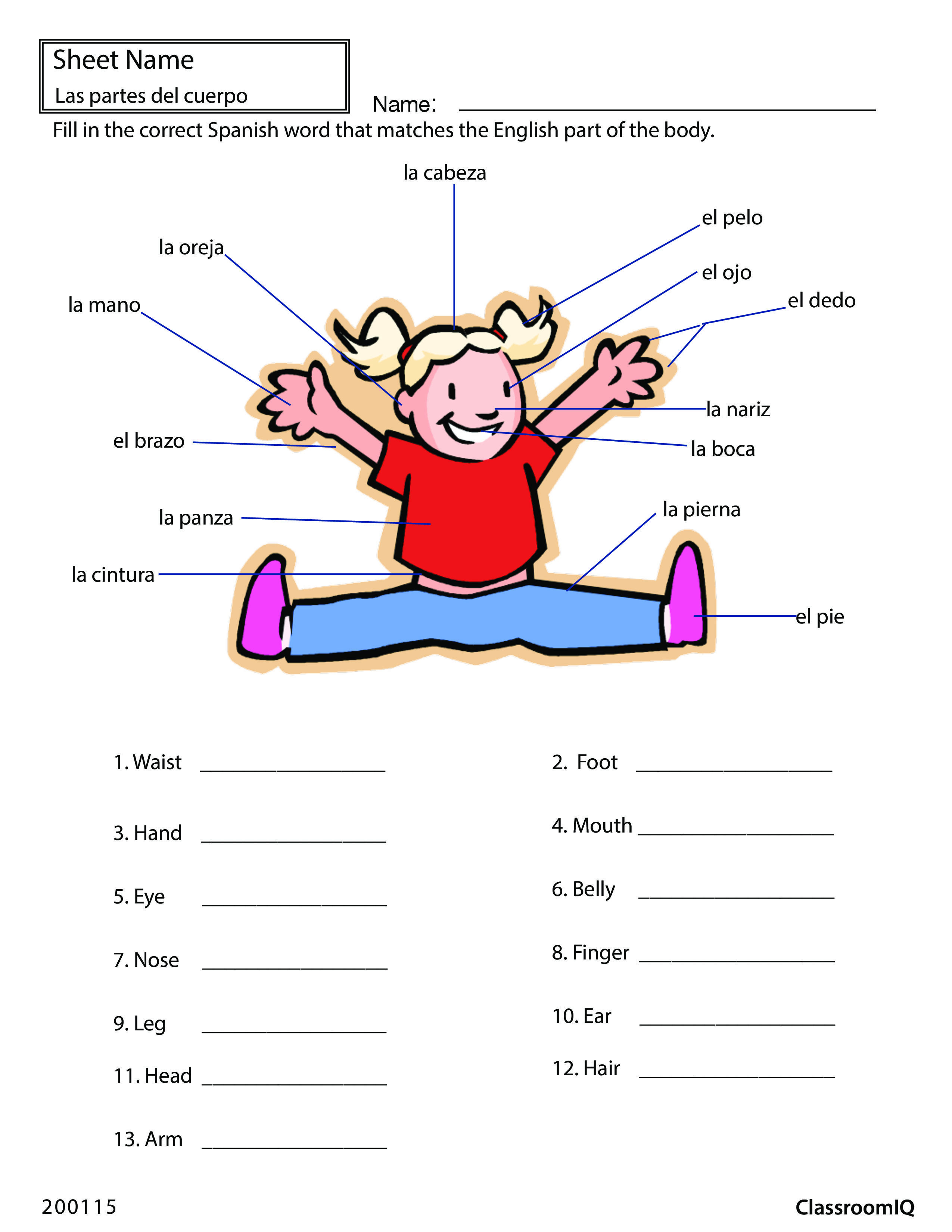 Body Parts In Spanish Spanishworksheets Classroomiq