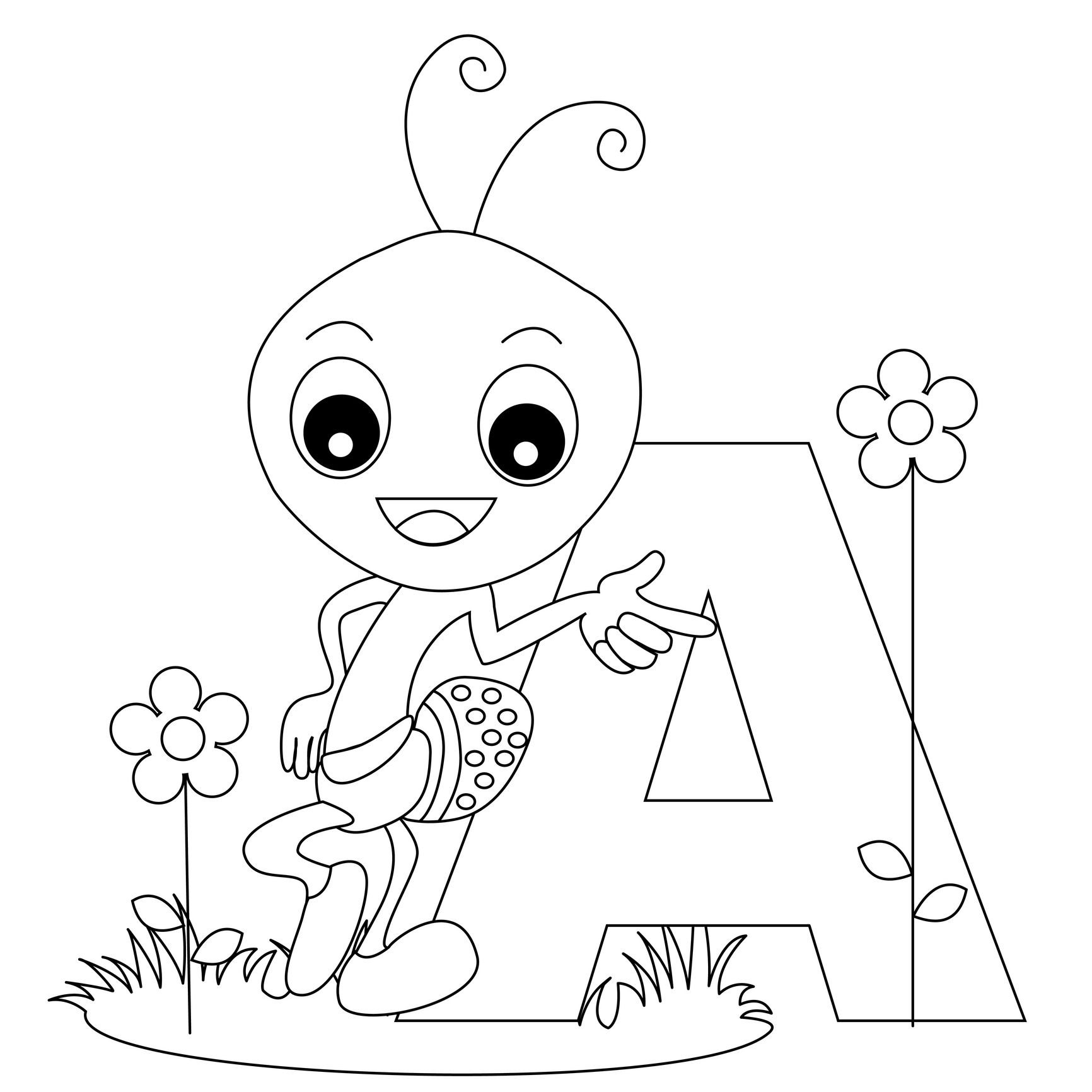 Animal Alphabet Letter A Is For Ant