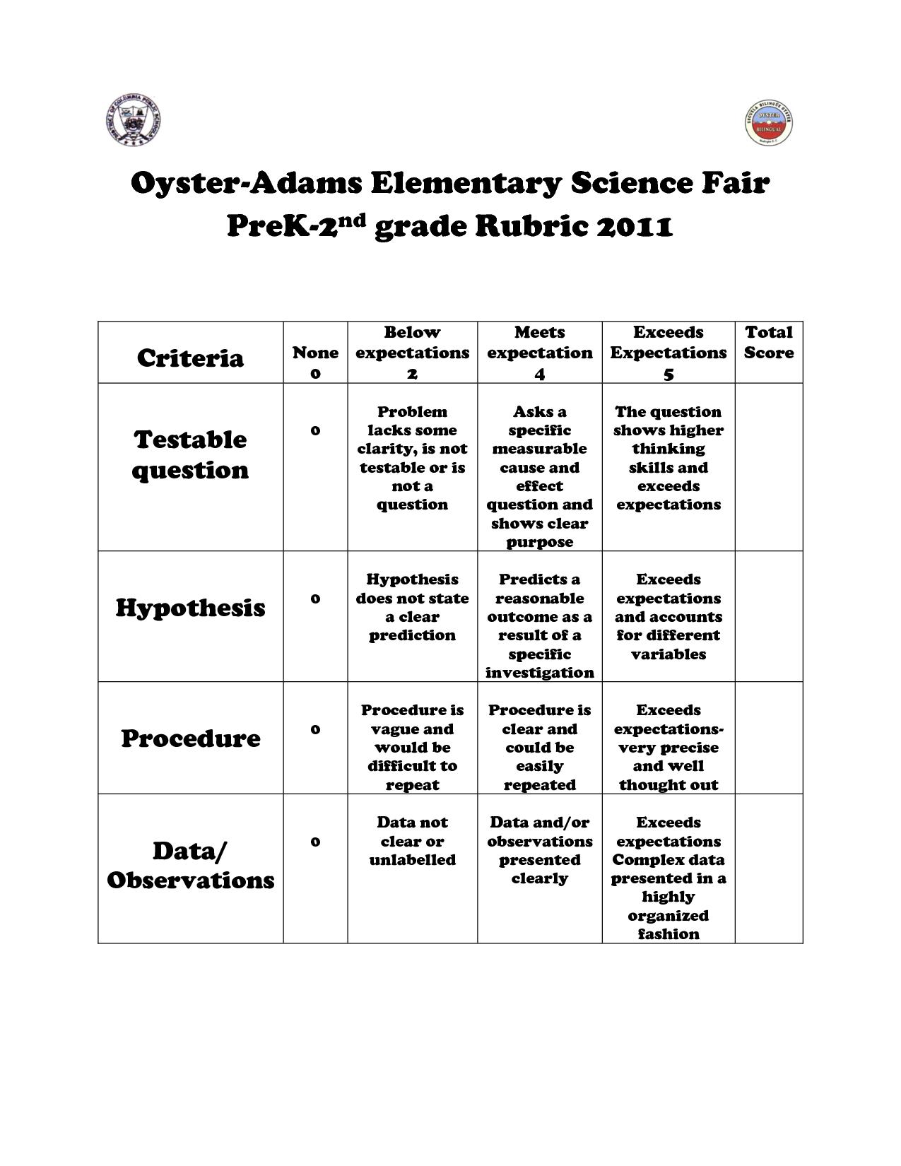 Science Fair K 2
