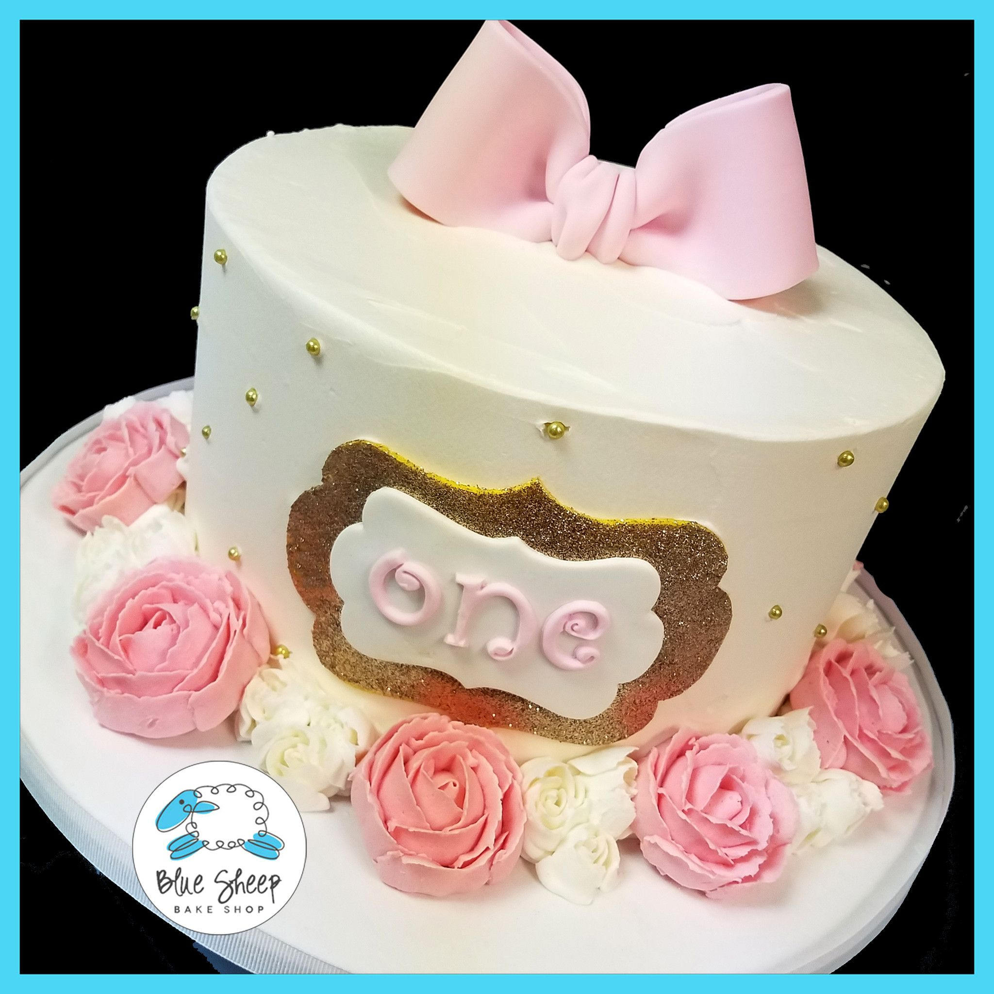 Pink Amp Gold 1st Birthday Cake With Buttercream Roses