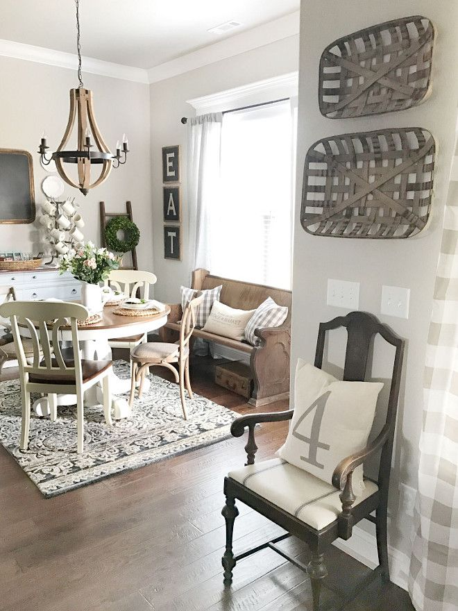 love this breakfast area agreeable gray by sherwin williams is on farmhouse kitchen wall colors id=22152