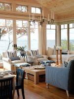 maritim wohnzimmer raumhohe fenster blau weiße streifen ...