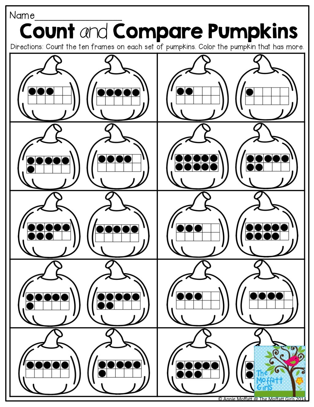 Count And Compare Pumpkins With Ten Frames
