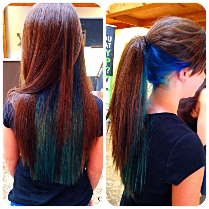 Blue and teal under layer bright longhair colors Hair Ideas