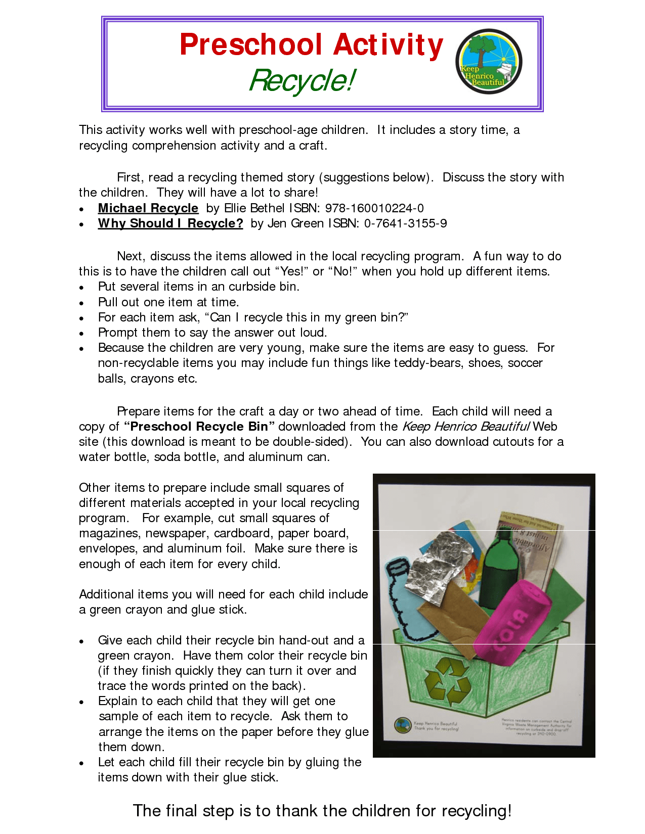 Recycling Preschool Activity Worksheet Link
