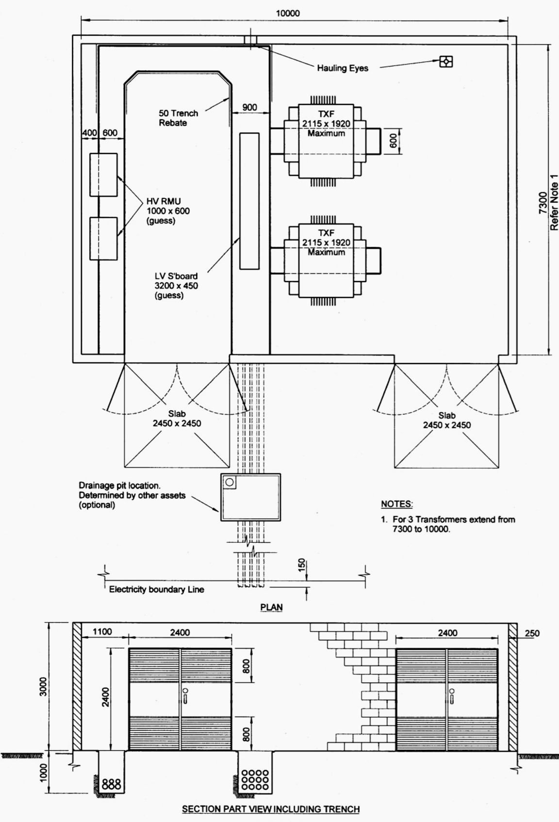 Indoor Distribution Substation Layout With 2 Transformers