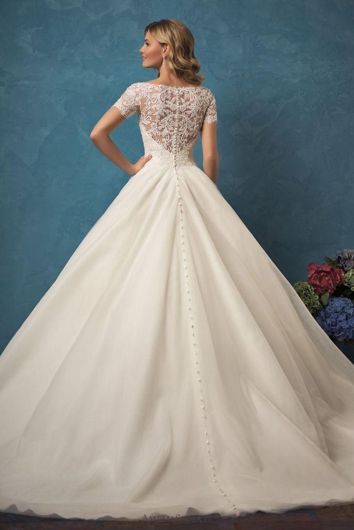 Wedding Dress Vneck Short Sleeves Button Sheer Back Sweep
