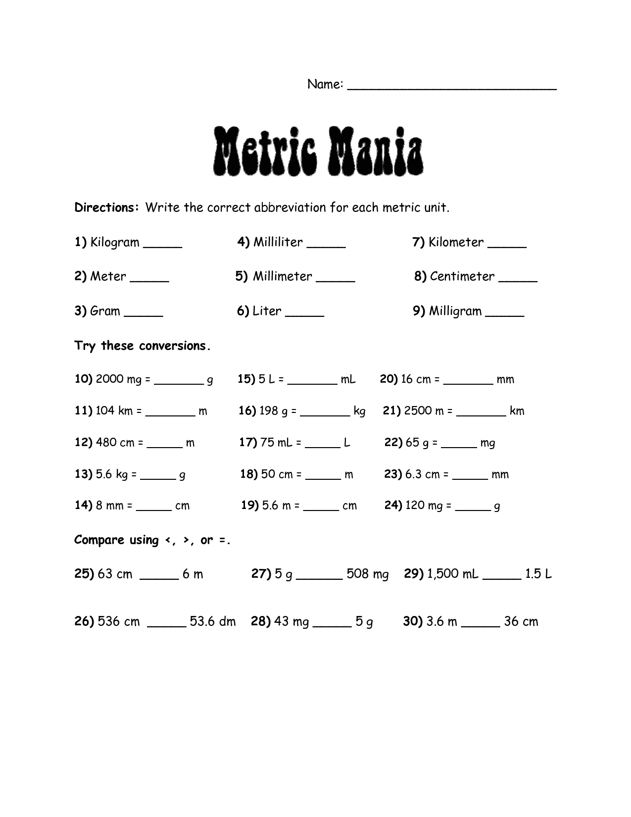 Metric System Charts Printables Metric Mania