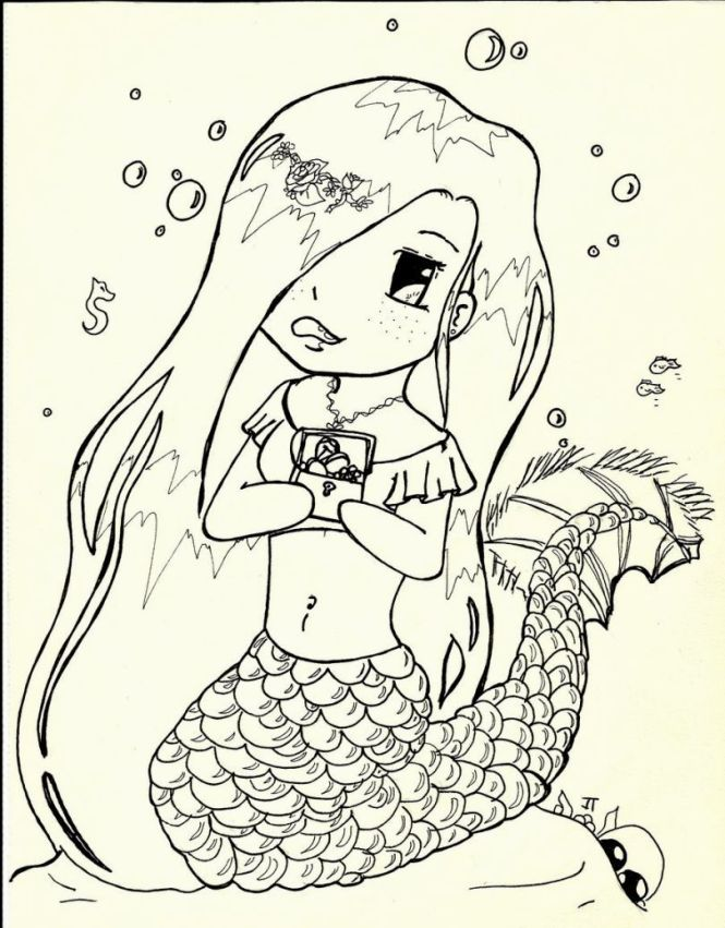 Cute Baby Mermaid Coloring Pages   Coloring Page for kids