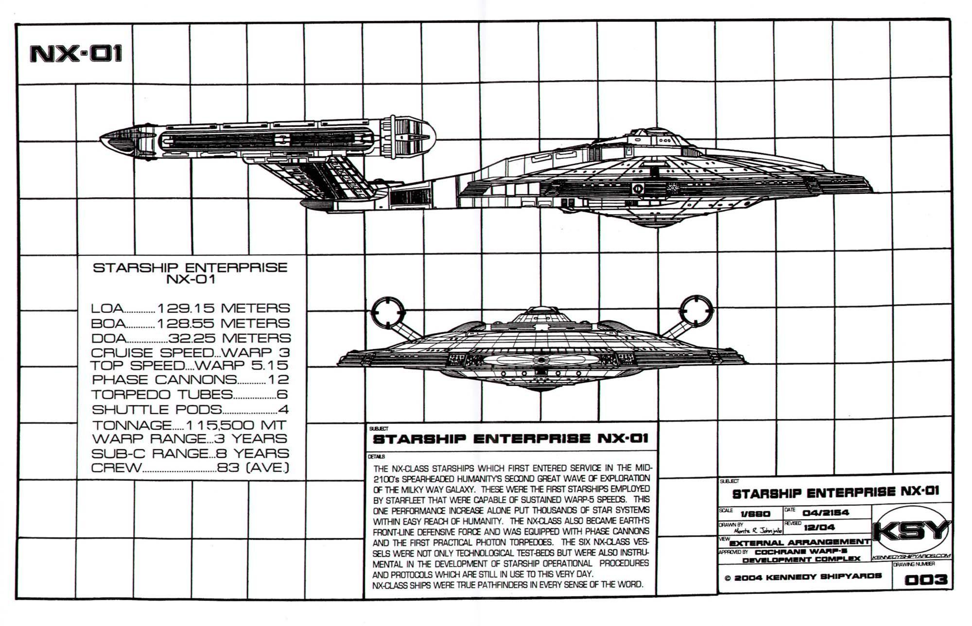 Black And White Schematic Of Columbia Class Starship U S