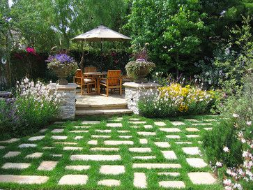 "Non-lawn, stone ""room"" entrance traditional landscape by ... on Non Grass Backyard Ideas  id=55555"