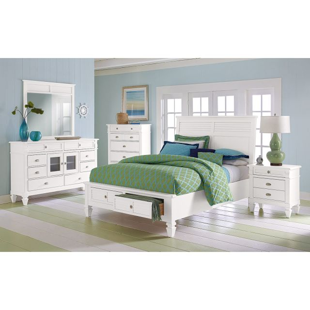 Charleston Bay White II Bedroom Queen Storage Bed American