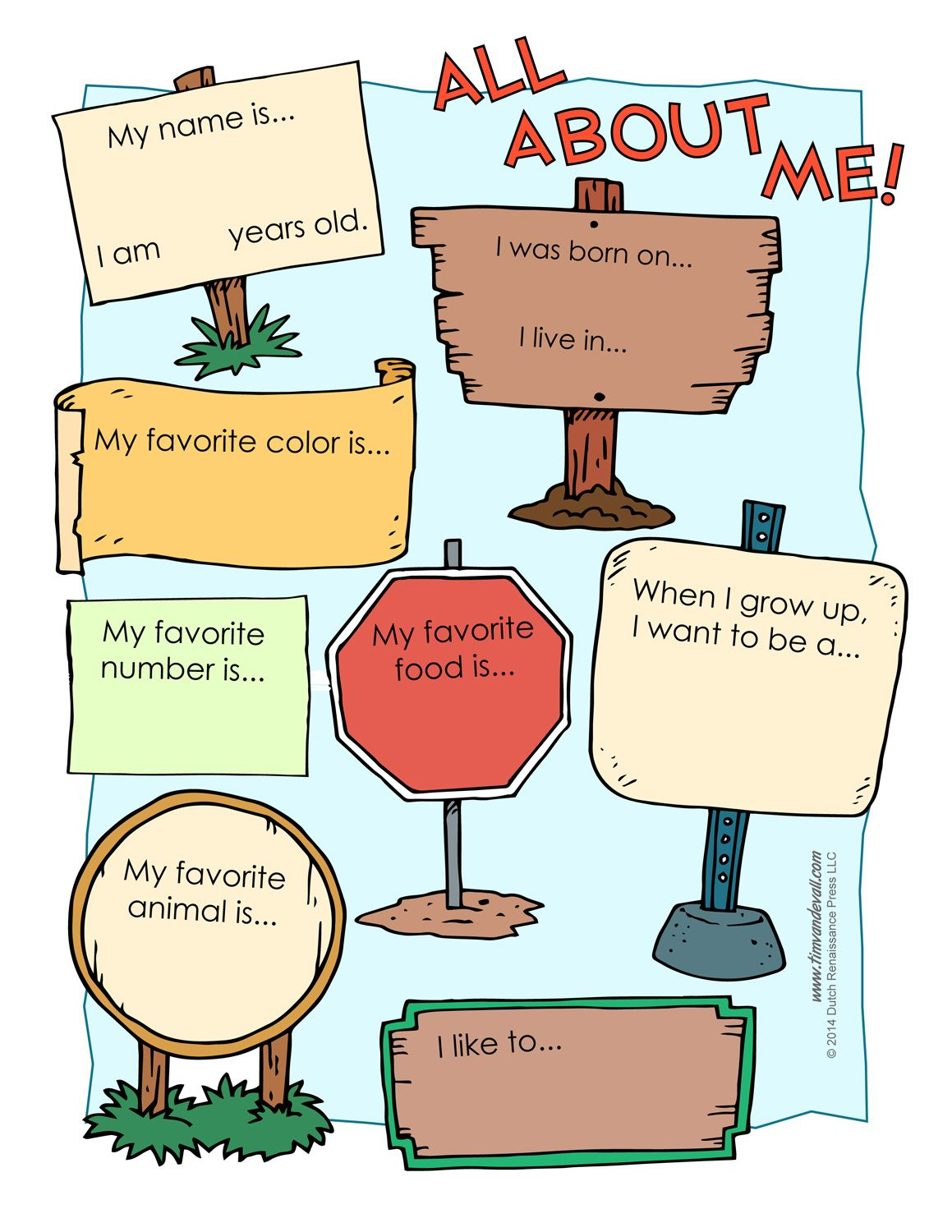All About Me Worksheet Ot