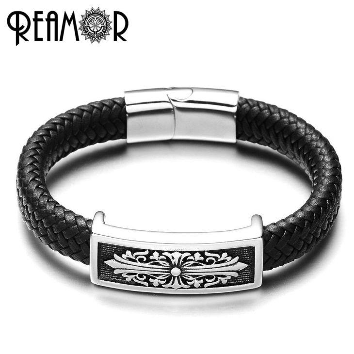 1a43838e464 Inspiring Vintage Genuine Wide Cuff Leather Male Bracelet Punk Rock ...