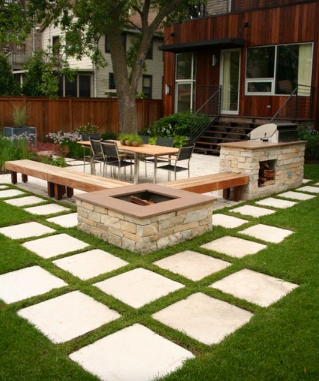 Outdoor seating area with fire pit, benches and square ... on Back Garden Seating Area Ideas id=45443