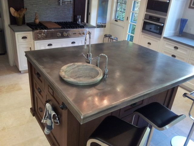 zinc countertop on kitchen island photo source www finedesignfabrication com kitchen on kitchen zinc id=48391