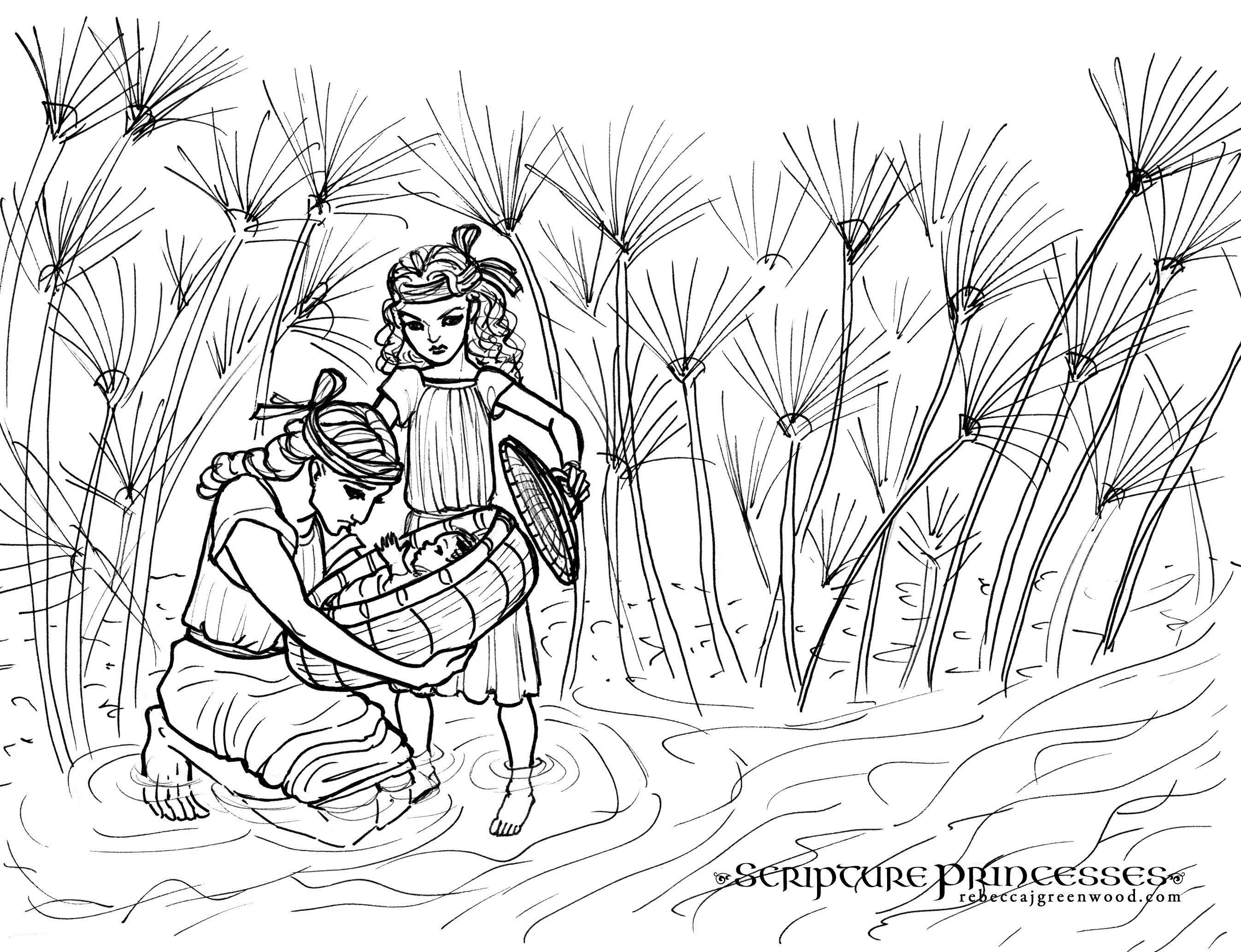 Miriam And Baby Moses Coloring Sheet