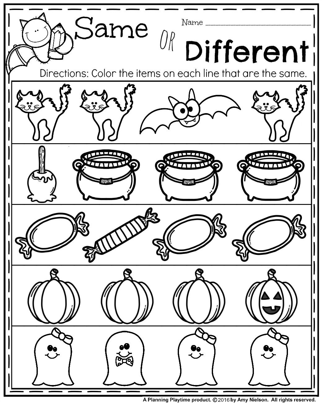October Preschool Worksheets