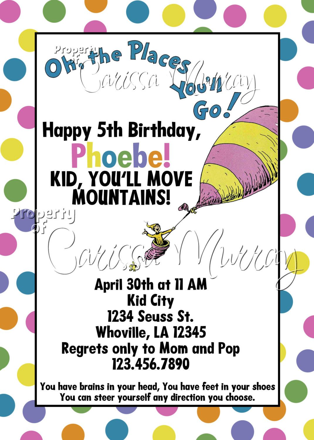 Oh The Places You Ll Go Party Invitation